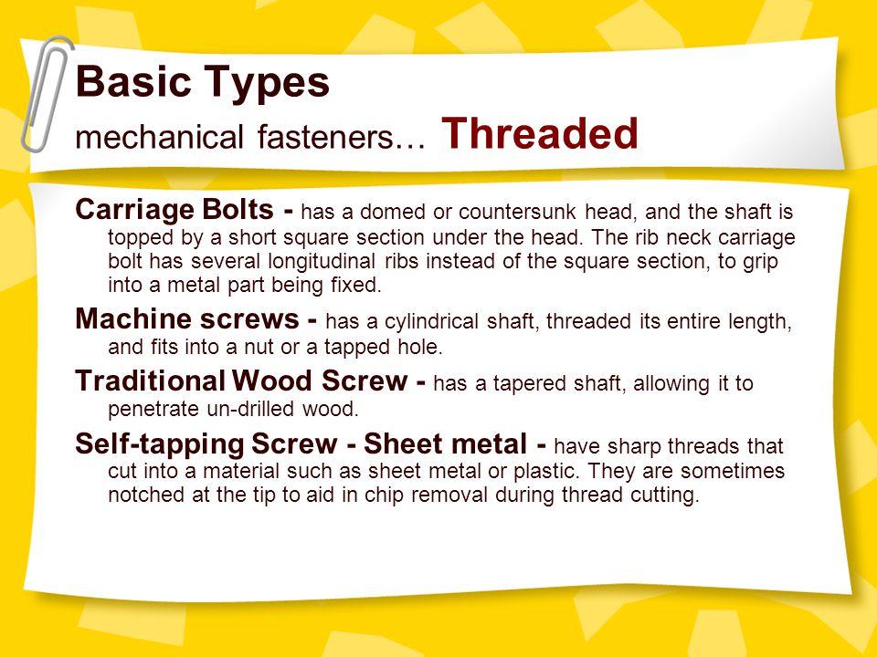 Basic Types mechanical fasteners… Threaded