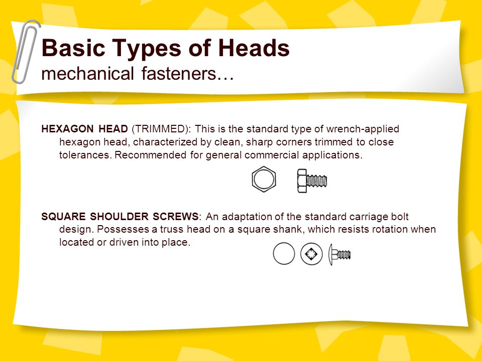 Basic Types of Heads mechanical fasteners…