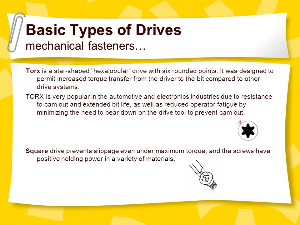 Basic Types of Drives mechanical fasteners…