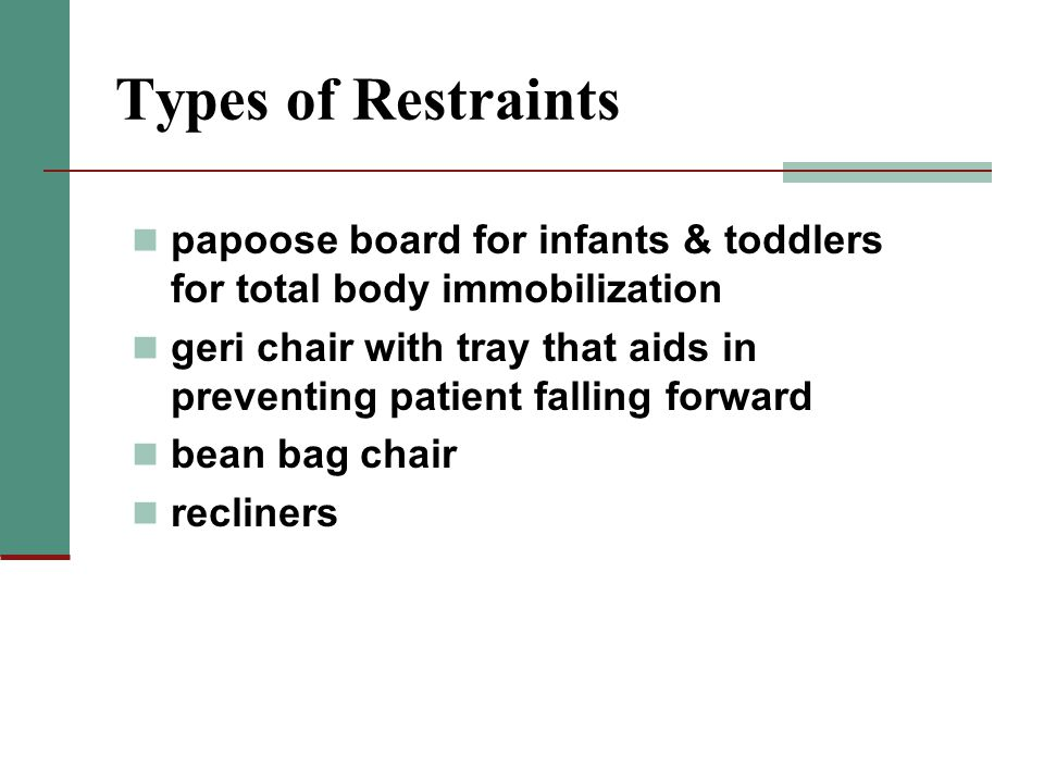 Types of Restraints papoose board for infants & toddlers for total body immobilization.