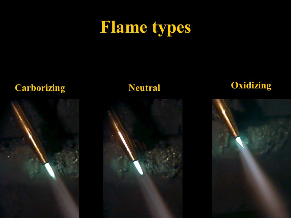 Flame types Oxidizing Carborizing Neutral