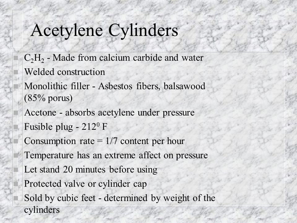 Acetylene Cylinders C2H2 - Made from calcium carbide and water