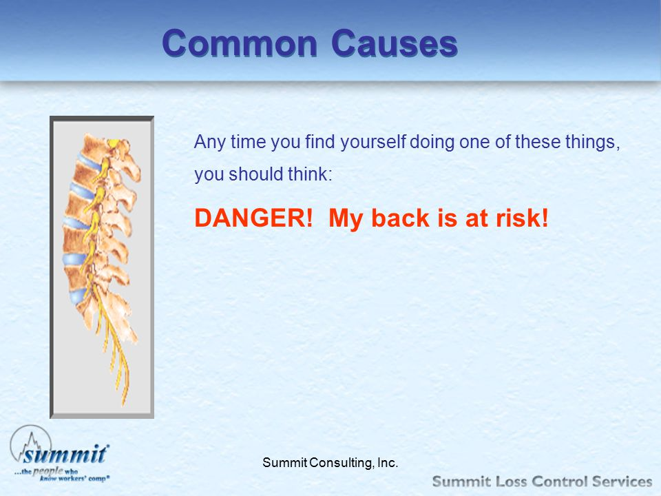 Common Causes DANGER! My back is at risk!