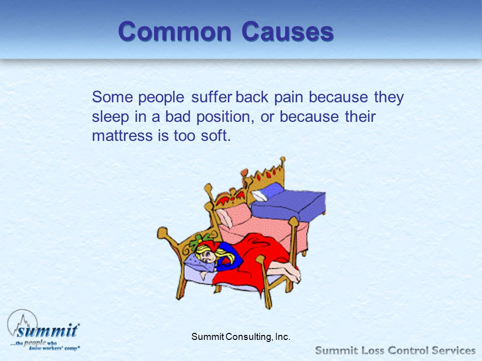 Common Causes Some people suffer back pain because they sleep in a bad position, or because their mattress is too soft.