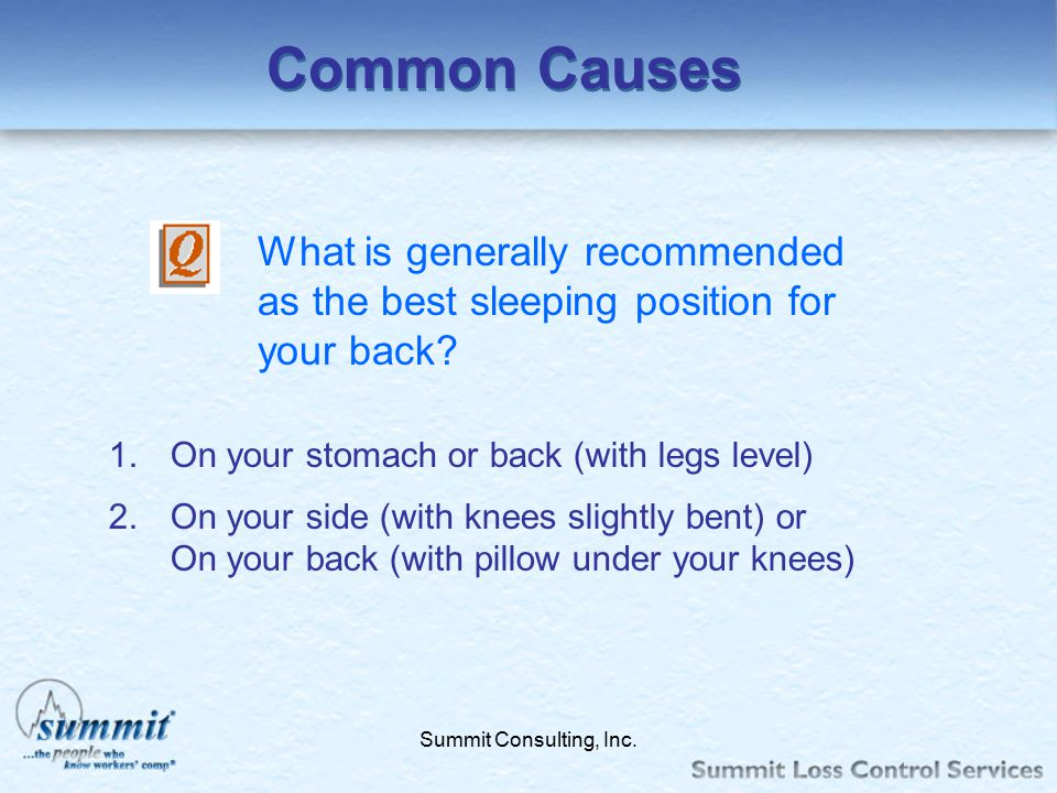 Common Causes What is generally recommended as the best sleeping position for your back On your stomach or back (with legs level)