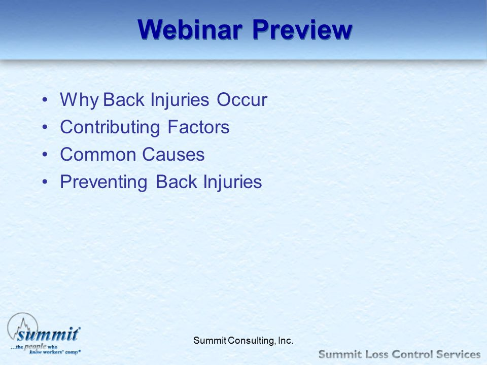 Webinar Preview Why Back Injuries Occur Contributing Factors