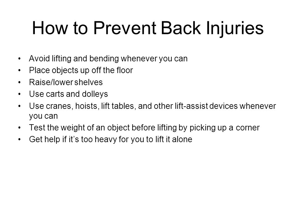 How to Prevent Back Injuries