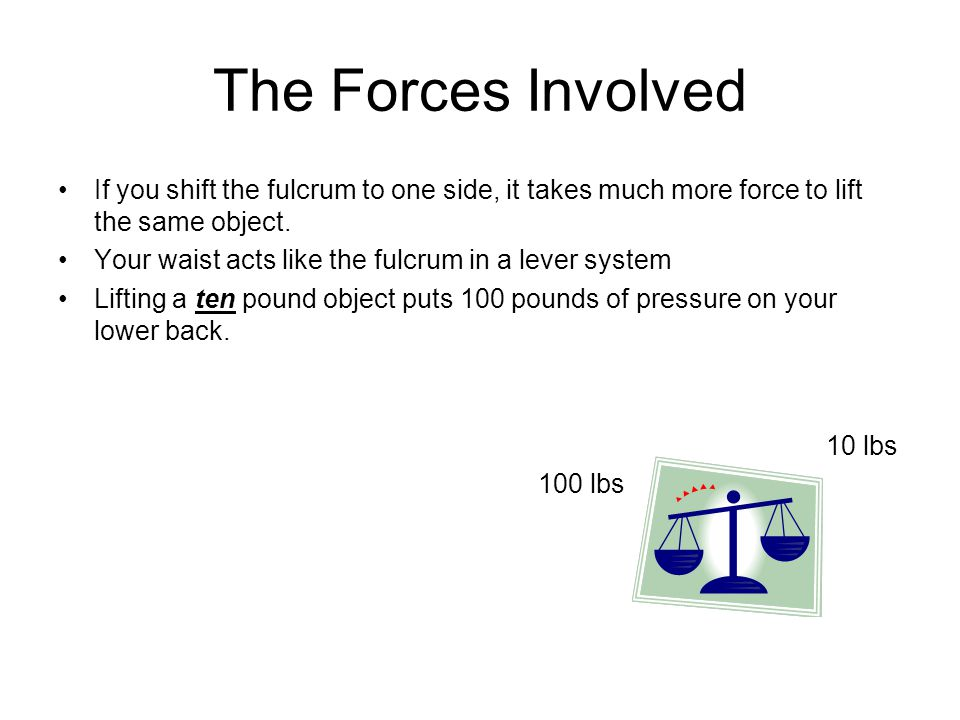 The Forces Involved If you shift the fulcrum to one side, it takes much more force to lift the same object.