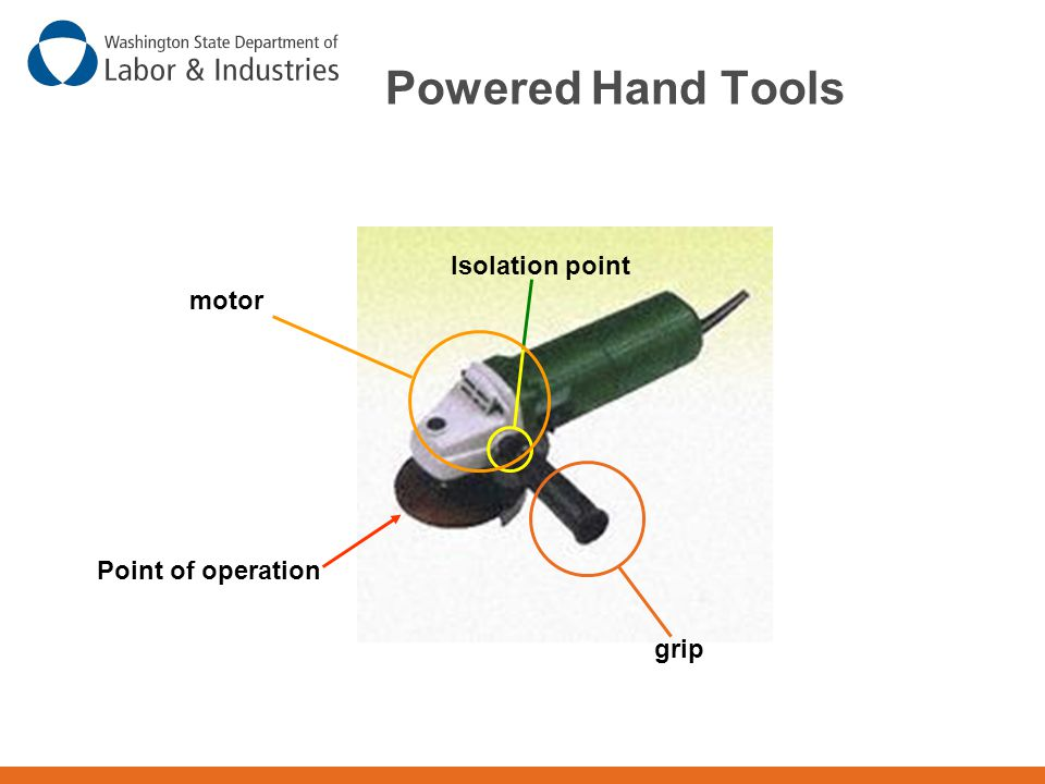 Powered Hand Tools Isolation point motor Point of operation grip