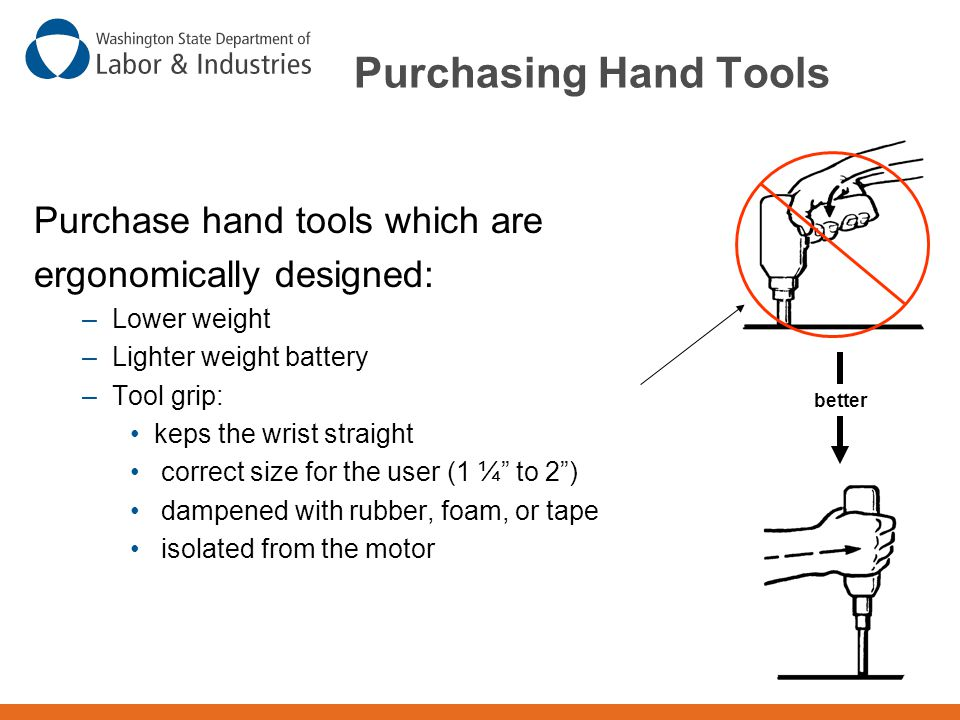 Purchasing Hand Tools Purchase hand tools which are