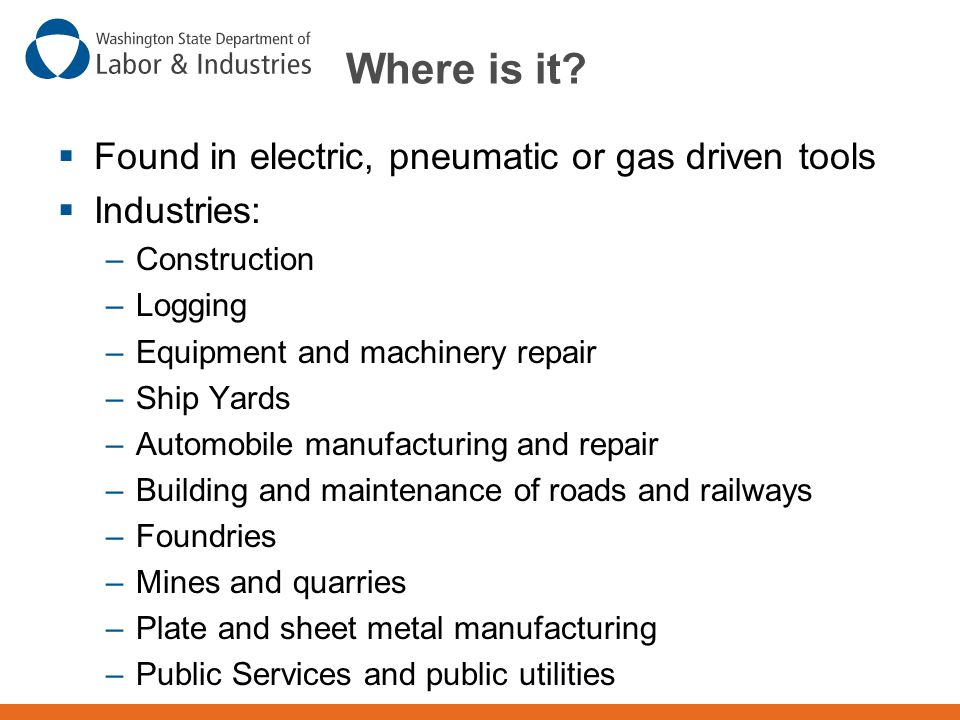 Where is it Found in electric, pneumatic or gas driven tools