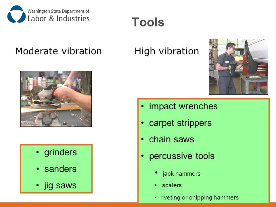Tools Moderate vibration High vibration impact wrenches
