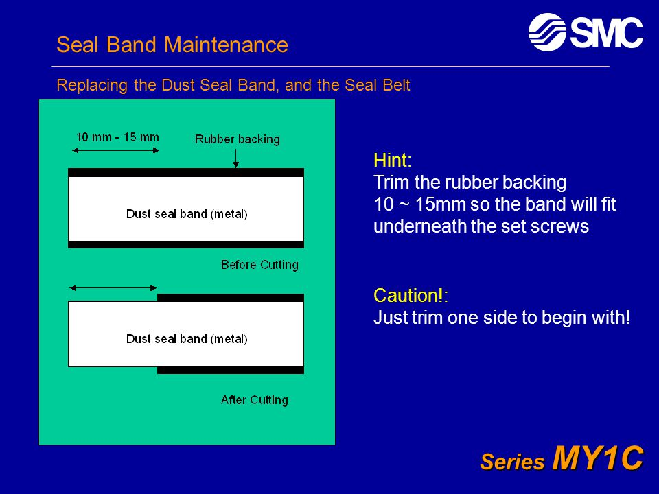 Seal Band Maintenance Series MY1C Hint: Trim the rubber backing