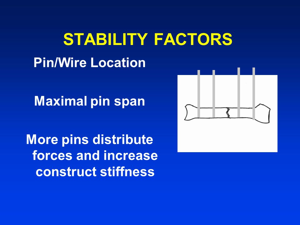 More pins distribute forces and increase construct stiffness