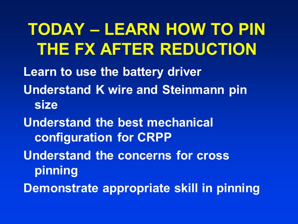 TODAY – LEARN HOW TO PIN THE FX AFTER REDUCTION