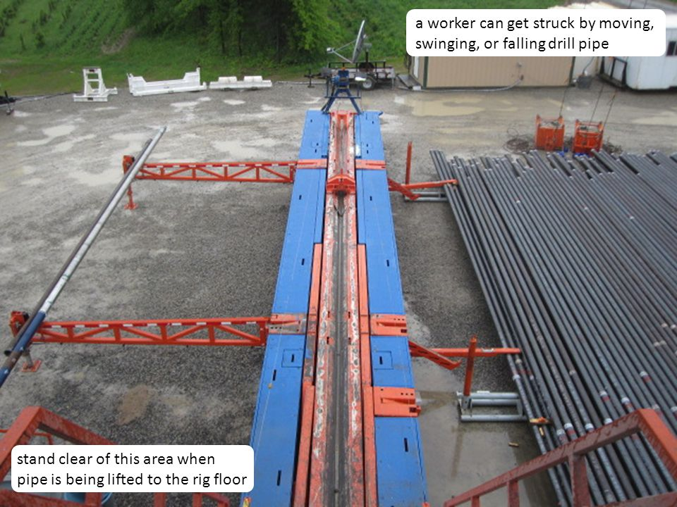 a worker can get struck by moving, swinging, or falling drill pipe