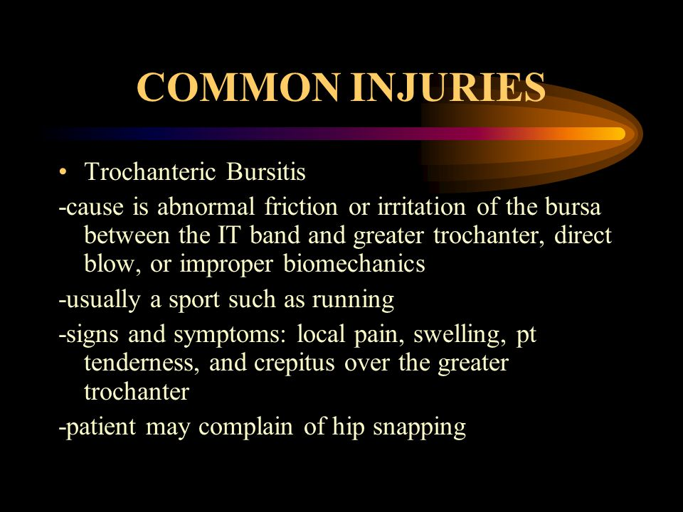 COMMON INJURIES Trochanteric Bursitis