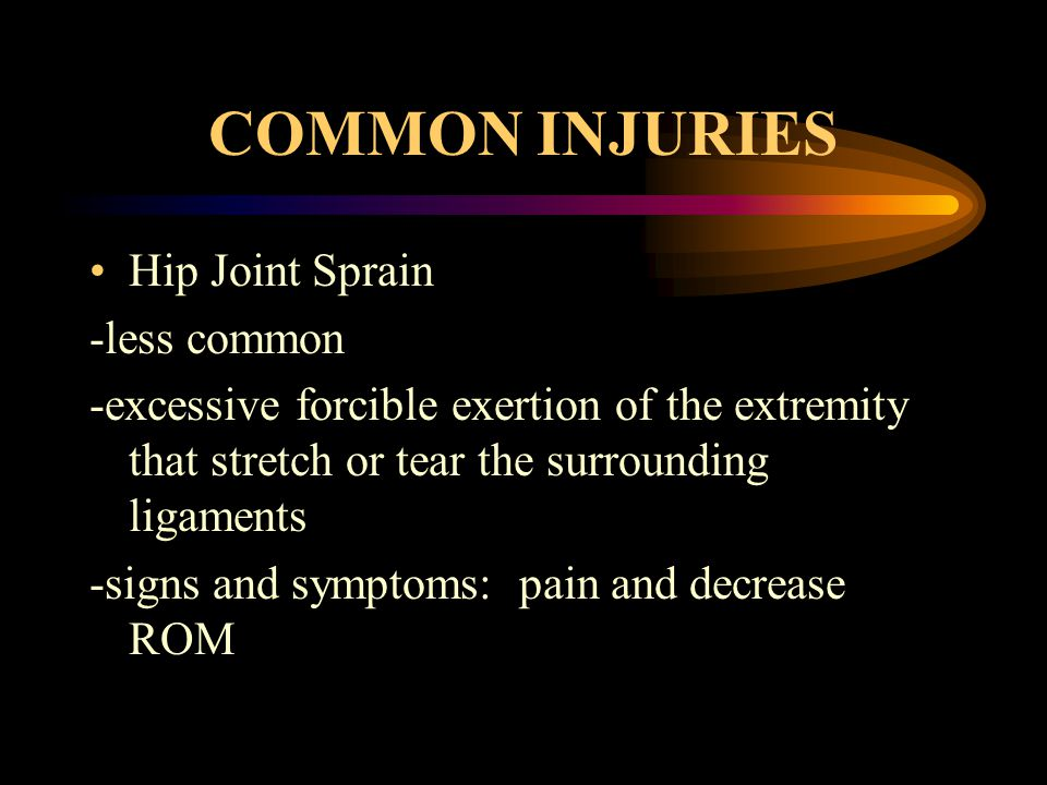 COMMON INJURIES Hip Joint Sprain -less common