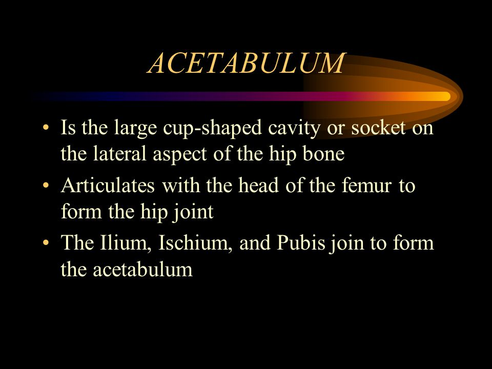 ACETABULUM Is the large cup-shaped cavity or socket on the lateral aspect of the hip bone.