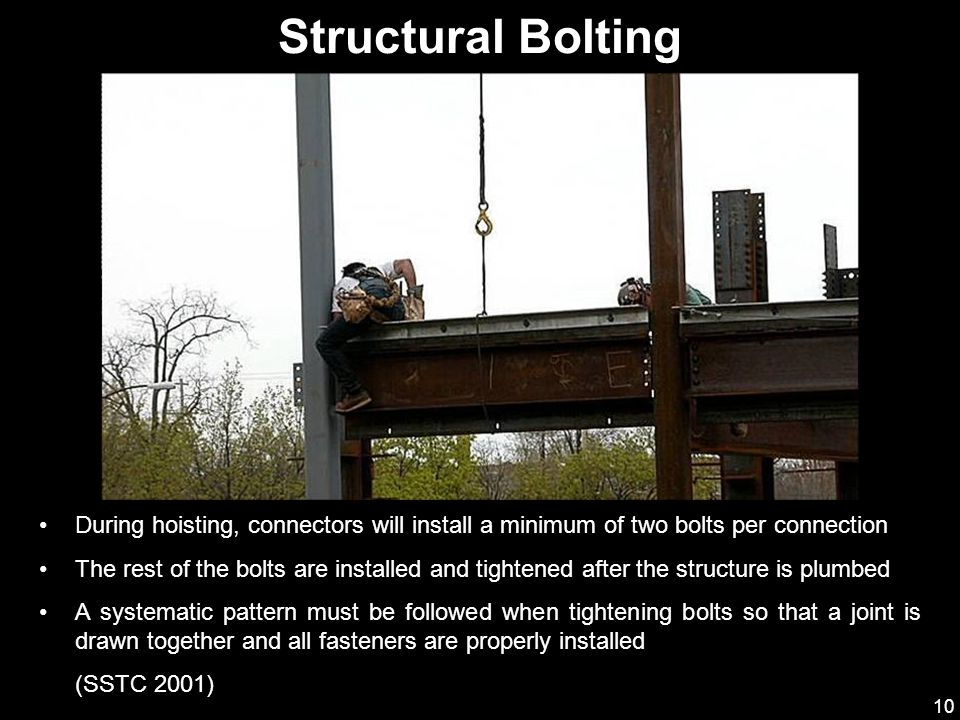 Structural Bolting During hoisting, connectors will install a minimum of two bolts per connection.