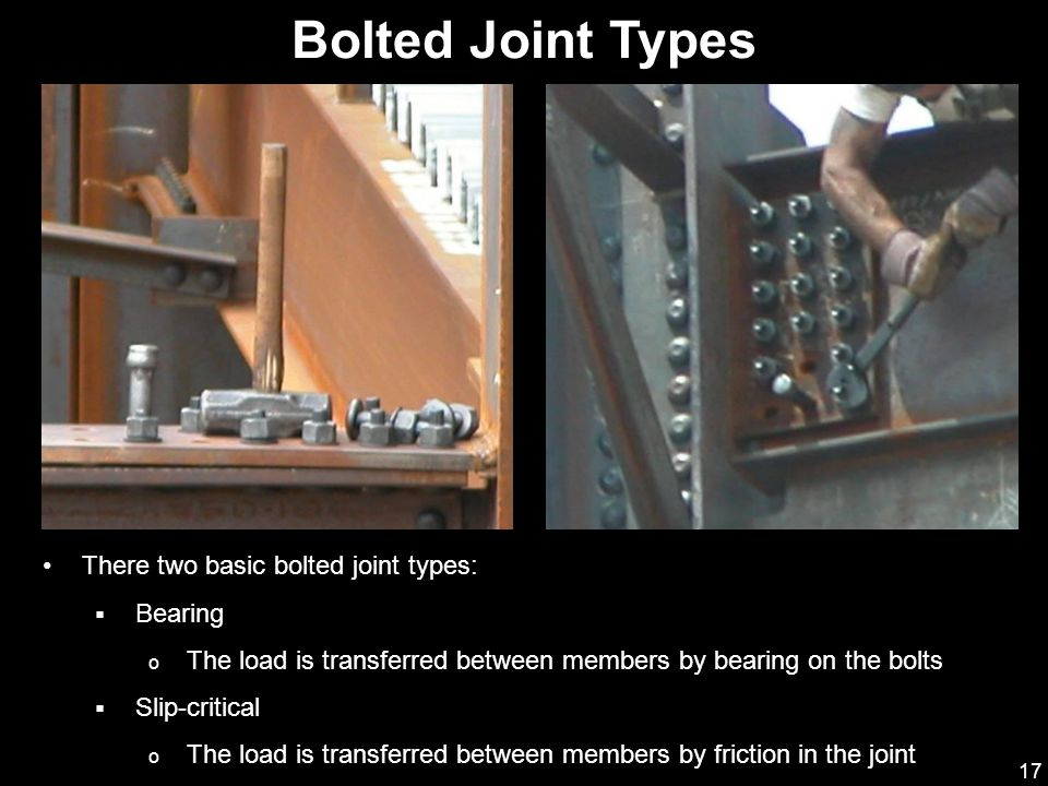 Bolted Joint Types There two basic bolted joint types: Bearing