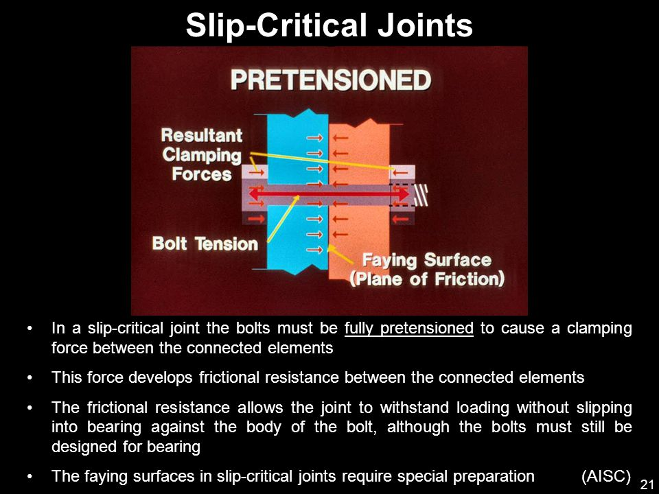 Slip-Critical Joints In a slip-critical joint the bolts must be fully pretensioned to cause a clamping force between the connected elements.
