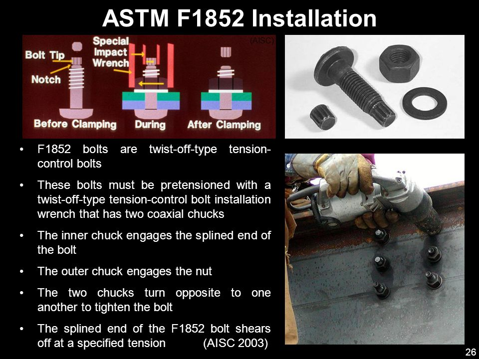 ASTM F1852 Installation (AISC) F1852 bolts are twist-off-type tension-control bolts.