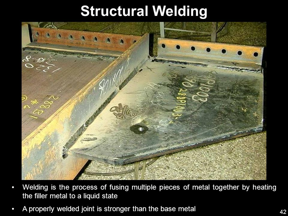 Structural Welding Welding is the process of fusing multiple pieces of metal together by heating the filler metal to a liquid state.