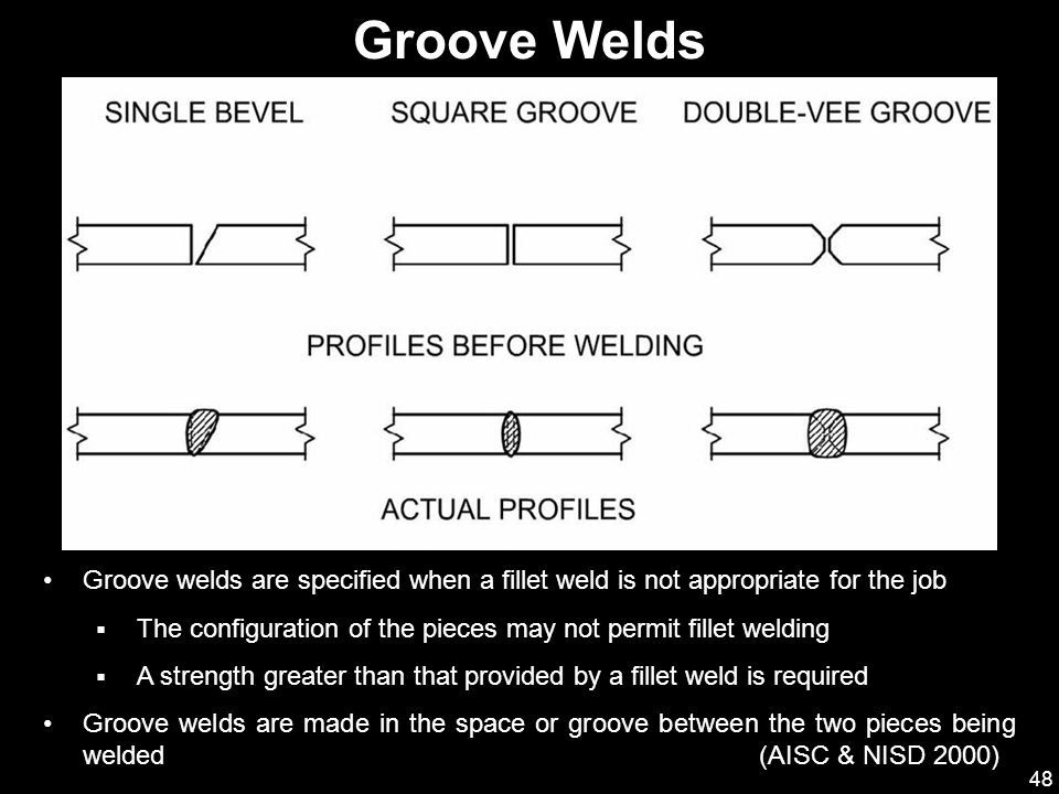 Groove Welds Groove welds are specified when a fillet weld is not appropriate for the job.
