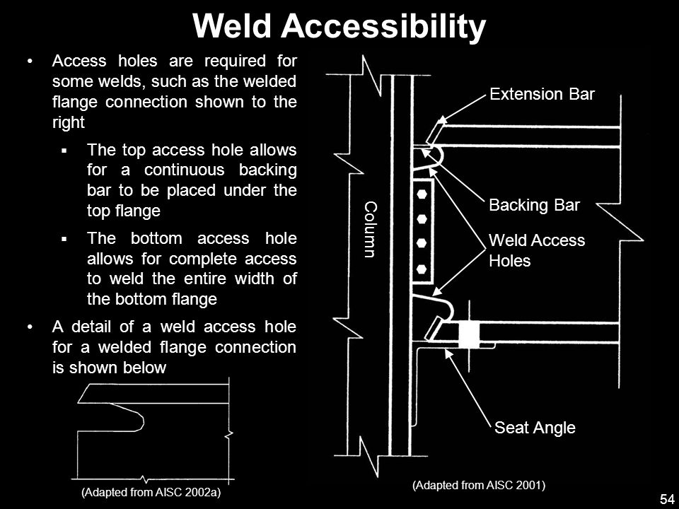 Weld Accessibility Access holes are required for some welds, such as the welded flange connection shown to the right.