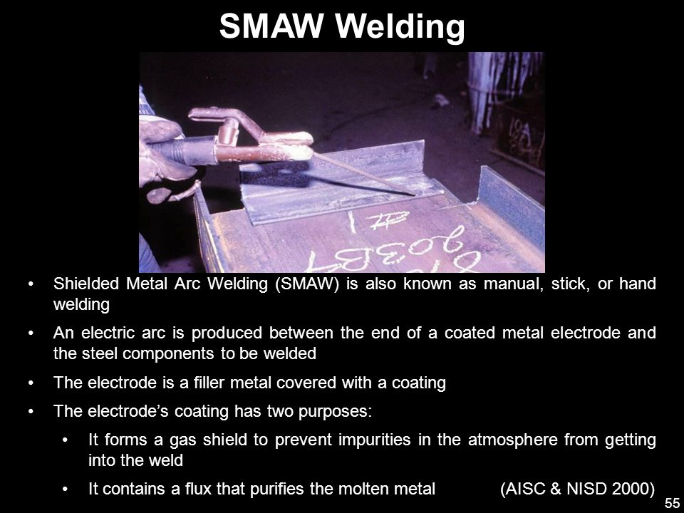 SMAW Welding Shielded Metal Arc Welding (SMAW) is also known as manual, stick, or hand welding.