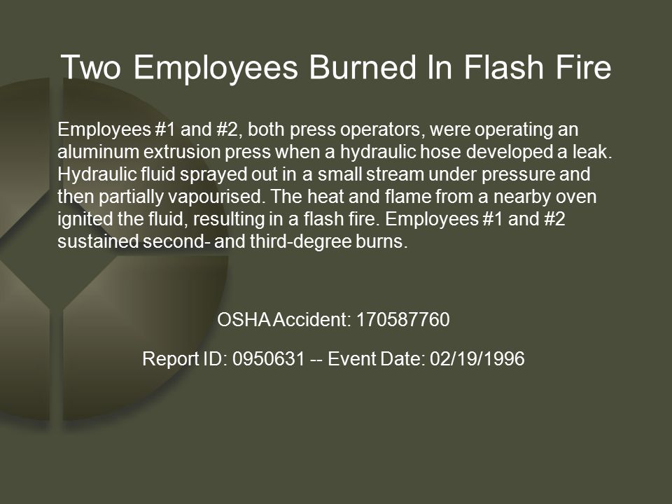Two Employees Burned In Flash Fire
