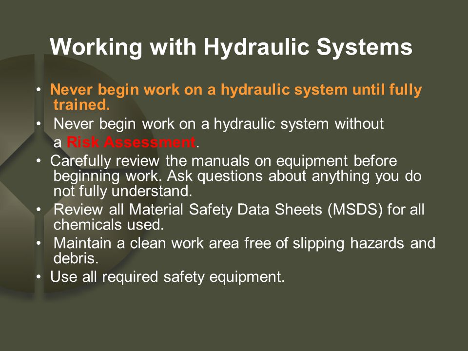 Working with Hydraulic Systems