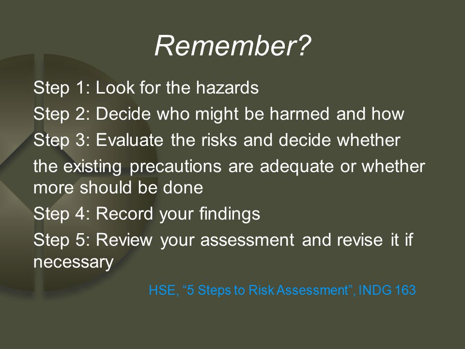 HSE, 5 Steps to Risk Assessment , INDG 163