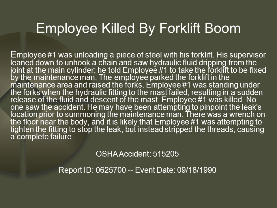 Employee Killed By Forklift Boom