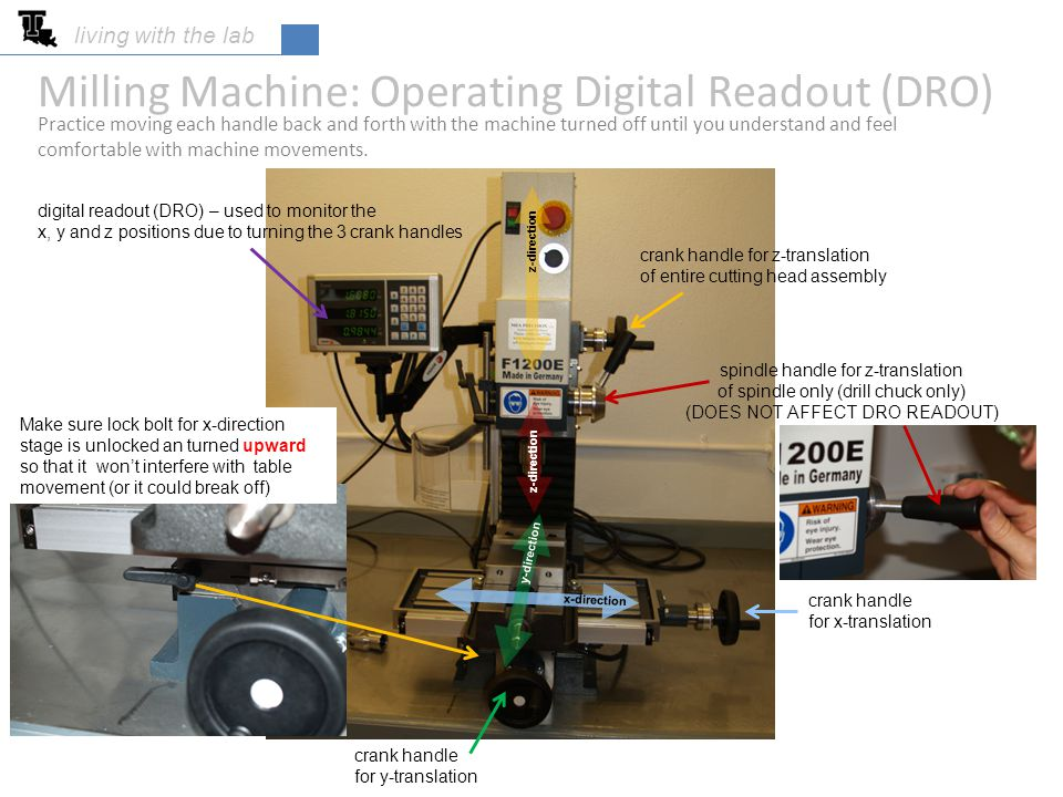 Milling Machine: Operating Digital Readout (DRO)