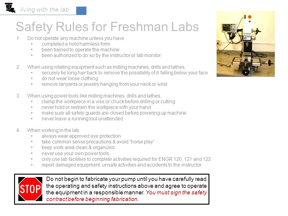 Safety Rules for Freshman Labs