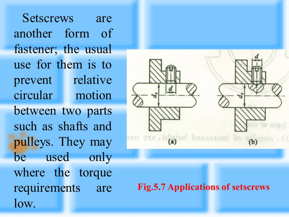 Fig.5.7 Applications of setscrews