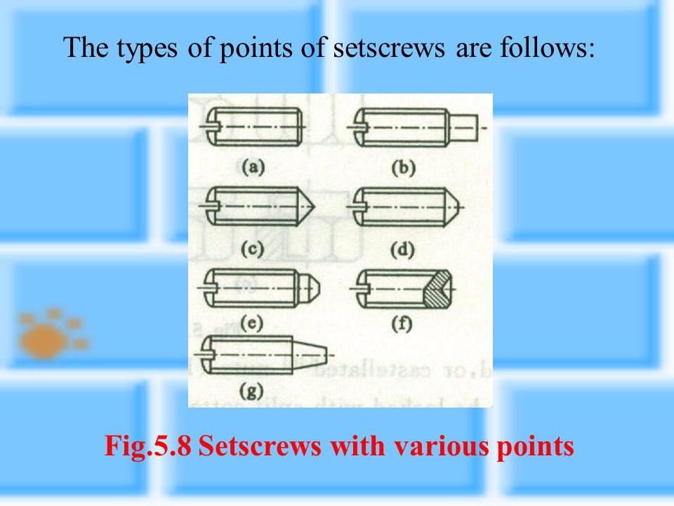 Fig.5.8 Setscrews with various points