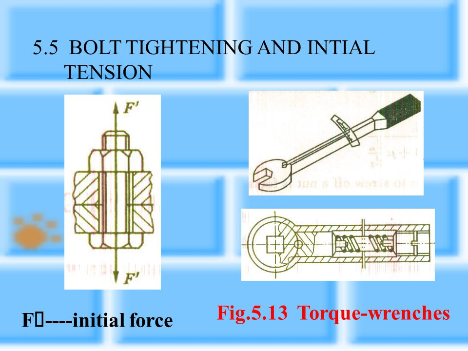 5.5 BOLT TIGHTENING AND INTIAL TENSION
