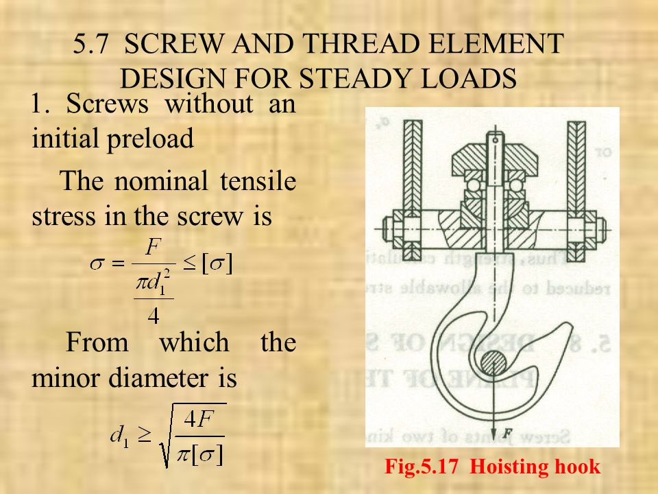 5.7 SCREW AND THREAD ELEMENT DESIGN FOR STEADY LOADS