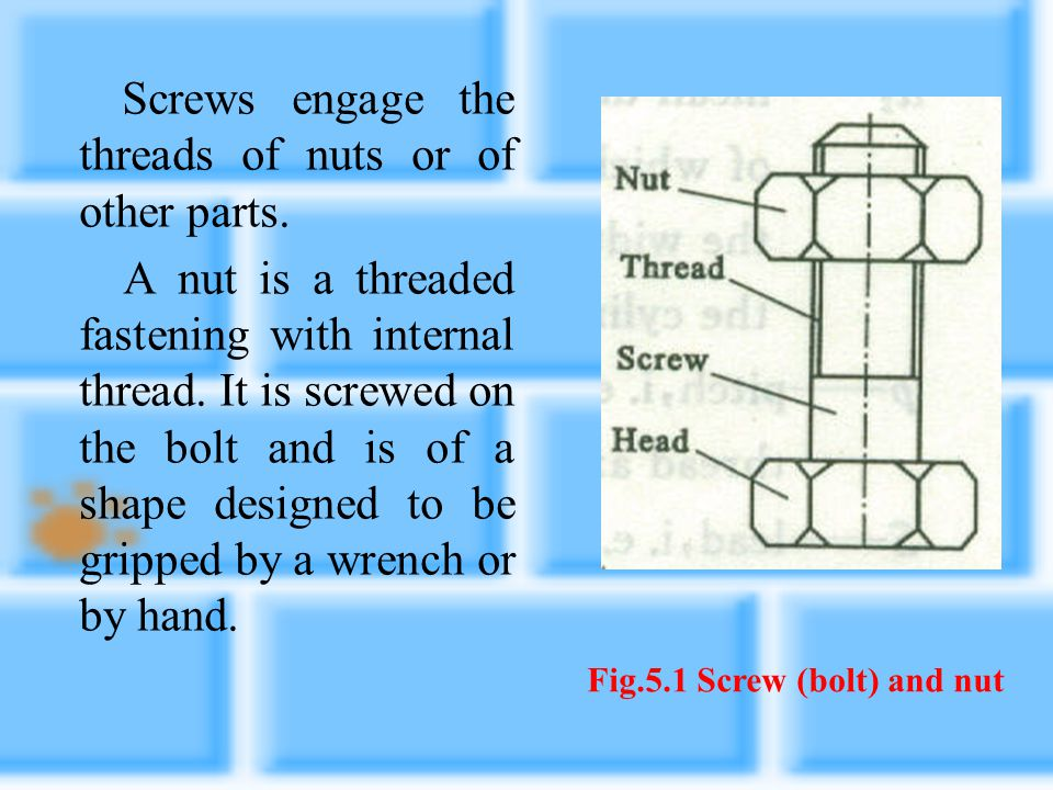 Fig.5.1 Screw (bolt) and nut