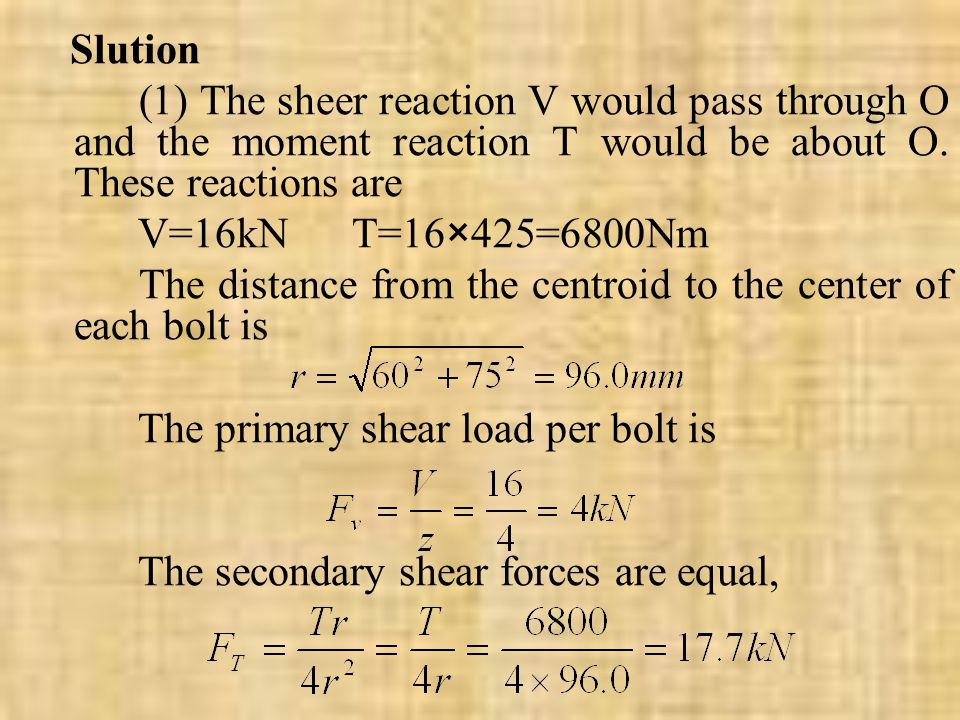 The distance from the centroid to the center of each bolt is