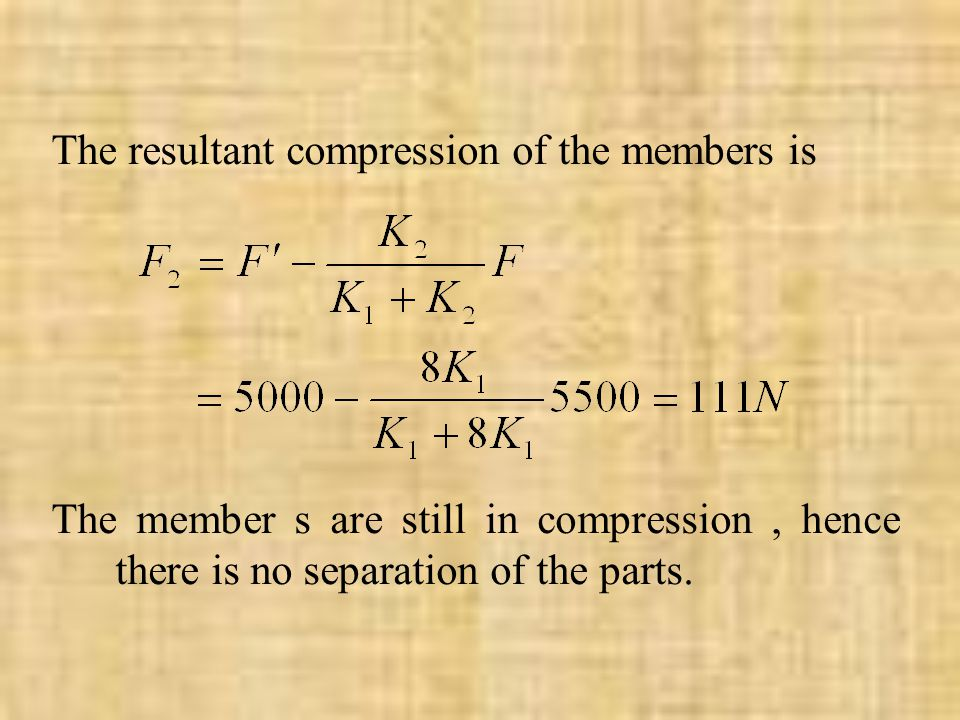 The resultant compression of the members is