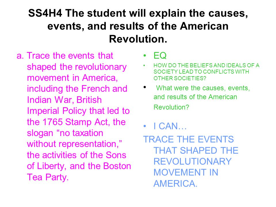 SS4H4 The student will explain the causes, events, and results of the American Revolution.