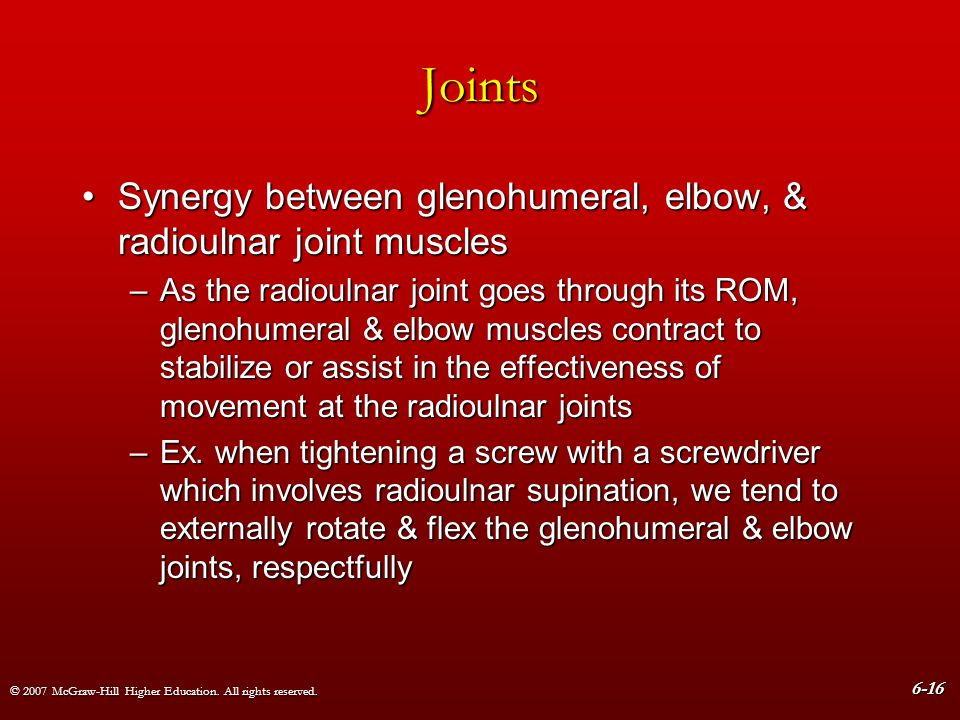 Joints Synergy between glenohumeral, elbow, & radioulnar joint muscles