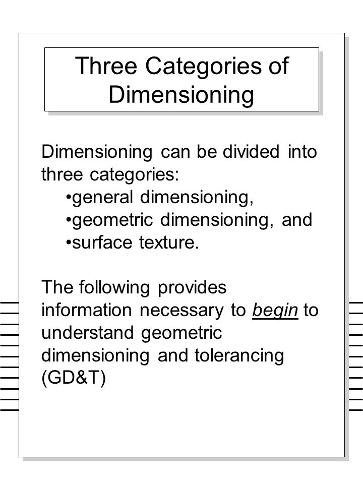 Three Categories of Dimensioning