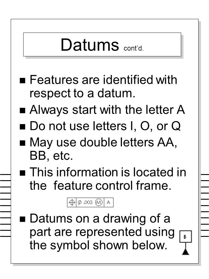 Datums cont'd. Features are identified with respect to a datum.
