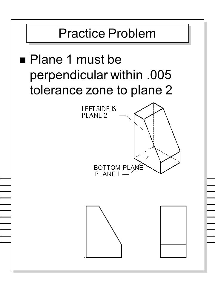 Plane 1 must be perpendicular within .005 tolerance zone to plane 2