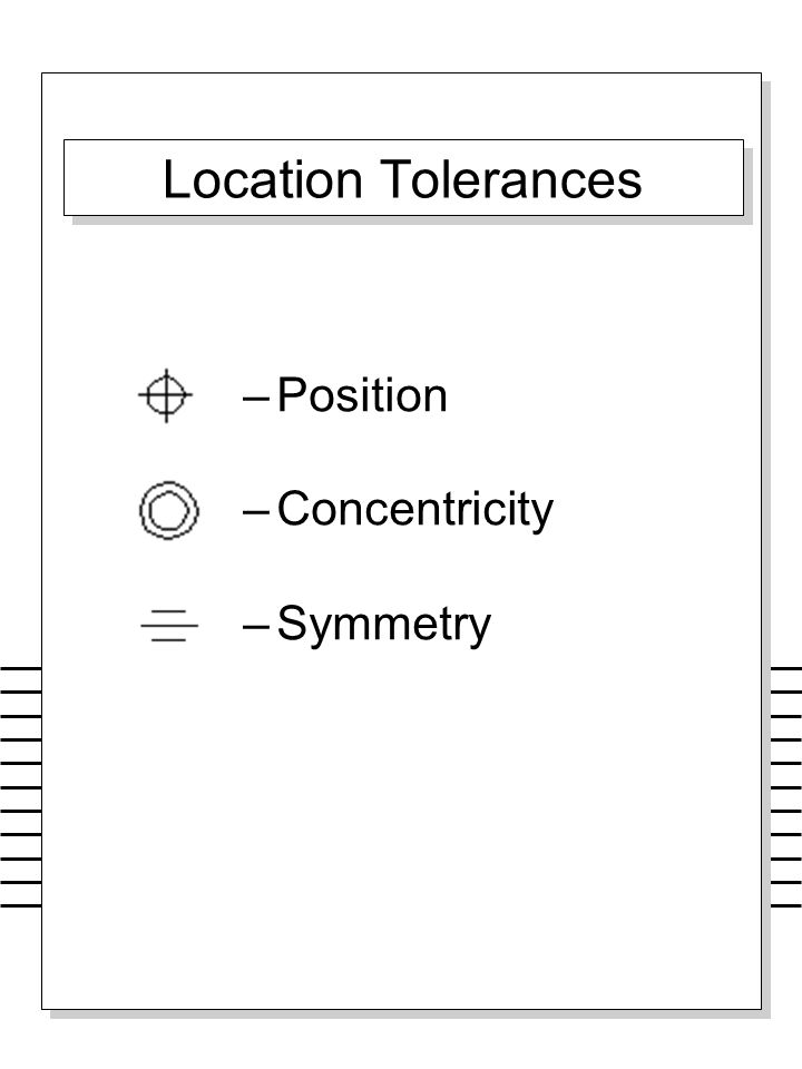 Location Tolerances Position Concentricity Symmetry Why symbols